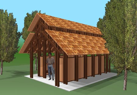 This was a conceptual design for a rain shelter to be used throughout Eagle-Vail. Another simplified design was chosen and constructed.