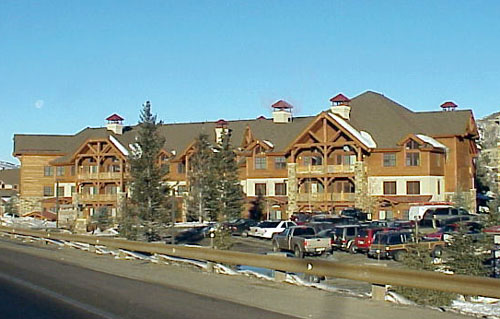 This the southern and entry side as view from Highway 6.  The three story lodge provides Beaver Creek quality design and finishes within Avon city limits and is sited on the Eagle River.