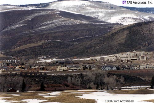 the ECCA buildings are located in the lower left side of the image with the Singletree subdivision in the background