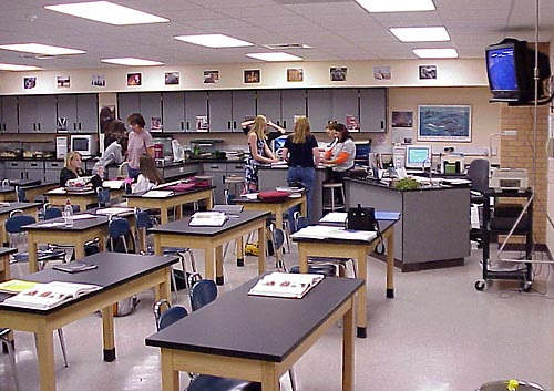 One of the new program items included for EVHS was to create two additional science rooms.  This is one of the new science rooms in action.