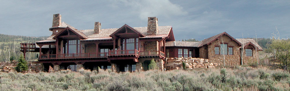 Panorama of back of home with details of architectural elements below.