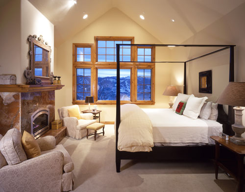 The master bedroom has its own fireplace as well as beautiful views to Beaver Creek Mountain.
