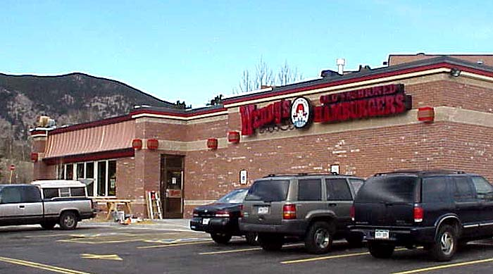 The photo above shows the nearly completed Wendy's in Evergreen, Colorado