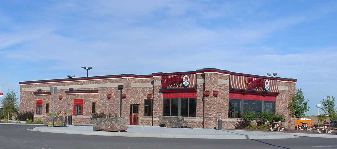 This version of the Wendy's prototype building was adapted and enlarged to 4,390 s.f.  for additional seating and to accomodate a large capacity kitchen.